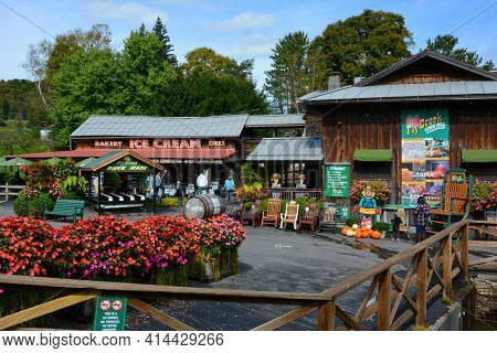 FLY CREEK, NEW YORK - SEPT 27, 2018: Fly Creek Cider Mill and Orchard is a historic water-powered cider mill on the banks of Fly Creek.
