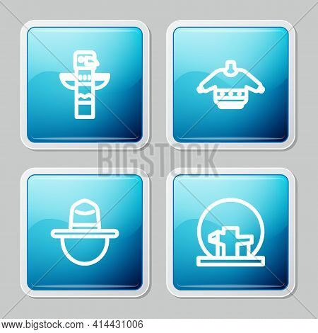 Set Line Canadian Totem Pole, Christmas Sweater, Ranger Hat And Montreal Biosphere Icon. Vector