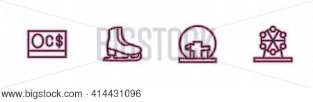 Set Line Canadian Dollar, Montreal Biosphere, Skates And Ferris Wheel Icon. Vector