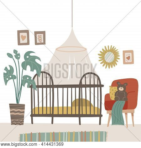 Child Room In Pastel Colors For The Newborn Baby. Baby Room With Furniture. Nursery Interior With Ba