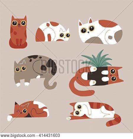 Set Of Funny Humor Cat Characters. Spotted Cats With Big Eyes Collection. Lying Kitties. Simple Vect