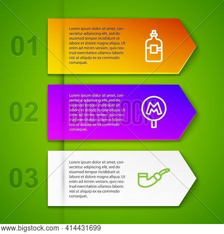 Set Line Bottle Of Vodka, Metro Or Underground And Smoking Pipe. Business Infographic Template. Vect