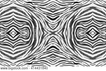 Seamless Zebra Pattern. Abstract African Texture. Watercolor Zoo Skin. White Wildlife Wallpaper. Bla