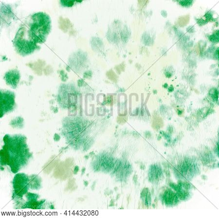 Tie Dye Circular. Batik Watercolor Background. Hippie Art Painting. Green Tye Die Dress. Swirl Color