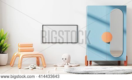 Blank Horizontal Frame Mock Up In Modern Children Room Interior Background With White Wall, Scandina