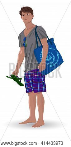 Image Of A Young Man On Vacation In Summer Vector Illustration