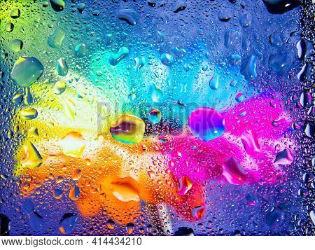Abstract Colorful Background, Abstract Colorful Background With Bubbles, Water Drops On A Glass, Col