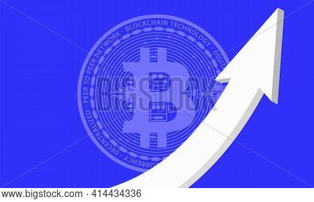 The White Arrow Is Pointed Upwards Against The Background Of The Coin Virtual Digital Crypto Currenc