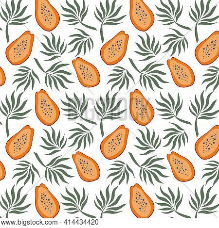 Hand Drawn Seamless Pattern With Papayas And Palm Leaves. Bring Vector Illustration. Vector Repeat B