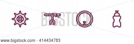 Set Line Bicycle Sprocket Crank, Wheel, Handlebar And Sport Bottle With Water Icon. Vector