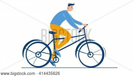 Young Happy Guy Rides A Bike. Male Character Alone. Summer Or Spring Biking Activity Outdoor. Stylis
