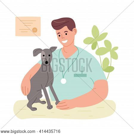 Veterinarian In The Office With A Dog. The Profession Is A Veterinarian. Vet Clinic. Man Heals Anima