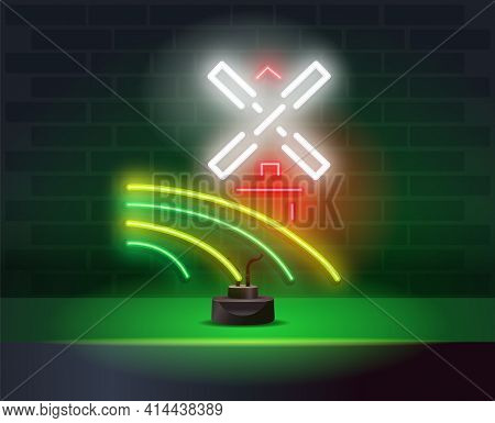 Neon Windmill Signboard. Glowing Retro Mill Emblem On Brick Wall Background. Mill Neon Icon. Element