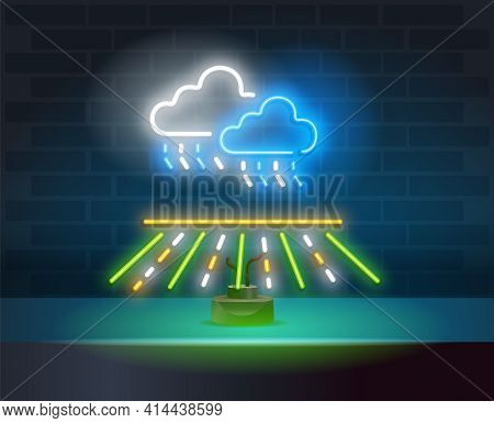 Glowing Neon Rainy Weather Icon On Dark Brick Wall Background. Rain Symbol With Cloud In Neon Style