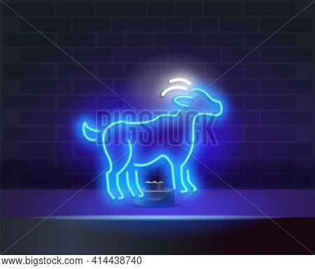 Glowing Neon Head Of Goat Or Ram Icon Isolated On Blue Background. Mountain Sheep. Animal Symbol. Ca