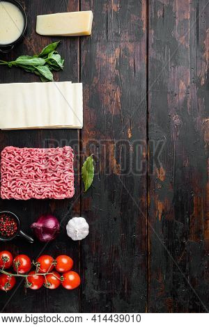 Meat Lasagna Ingredients Set, On Old Dark  Wooden Table Background, Top View, Flat Lay, With Copy Sp