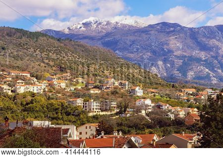 Beautiful Mountain Landscape On Sunny Spring Day. Green Town At Foot Of Mountains. Montenegro, View