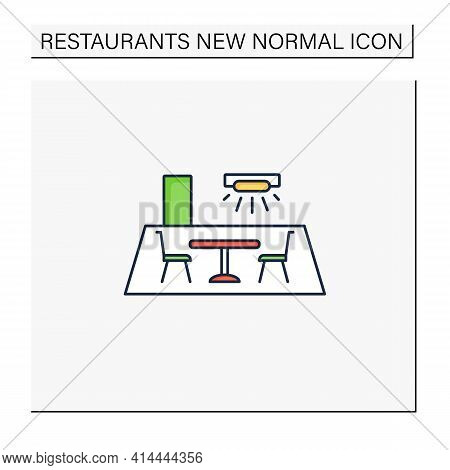 Restaurant Disinfection Color Icon. Ultraviolet Light Disinfection. Furniture Disinfect. Regulation