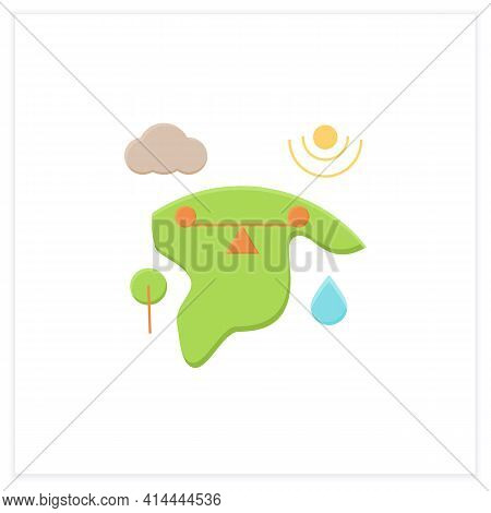 Ecosystem Balance Flat Icon.requires Sustainable Interdependence Of Plants, Animals, Organism With N