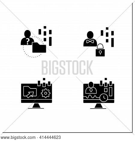 Customer Data Platform Glyph Icons Set. Real-time Client, Anonymous, Collect Data Offline, Individua