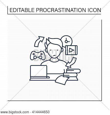 Procrastination Habit Line Icon. Routine Procrastinating Process. Day Plan. Daily Habits. Overload C