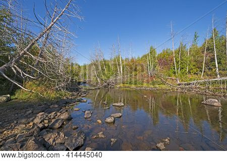 Quiet Stream In Canoe Country On Alpine Lake In The Boundary Waters In Minnesota
