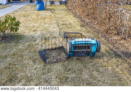 Preparing The Lawn For Summer With An Electric Aerator In Early Spring. Garden Machines Concept.