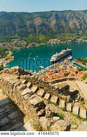 Colorful Landscape With Boats And Yachts In Marina Bay, Sea, Mountains, Blue Sky. Top View Of Kotor