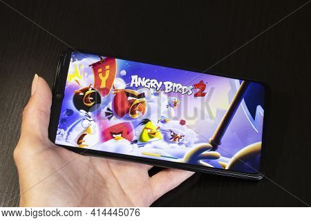 Belarus, Novopolotsk - 27 March, 2021: Angry Birds 2 Game On Phone Display Close Up