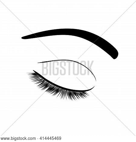 Fashionable vector illustration. Black and white image of closed eyes with lashes and eyebrows.