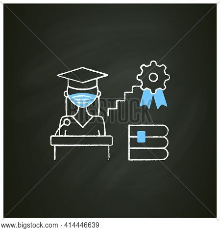 Academic Career Chalk Icon. Personal Growth. Motivation Speech. Work At University. Professor Career