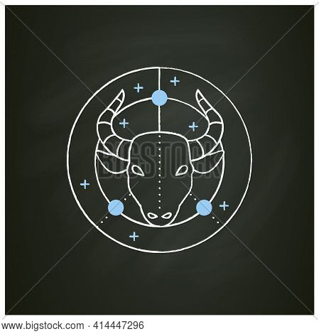 Taurus Chalk Icon. Bull Symbol. Second Fire Sign In Zodiac. Mystic Horoscope Sign. Bullfight, Corrid