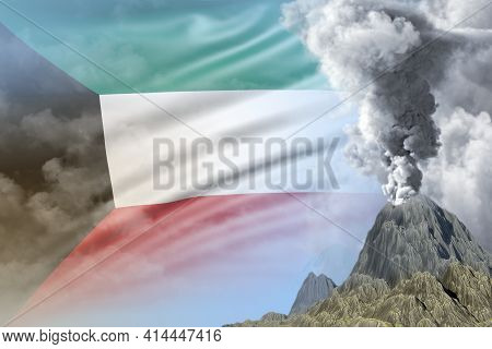 Big Volcano Eruption At Day Time With White Smoke On Kuwait Flag Background, Problems Of Eruption An