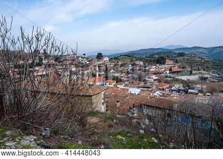 Izmir, Turkey - 03.10.2021: Wide Horizontal Landscape Of Famous Sirince Village And A Lot Of Houses