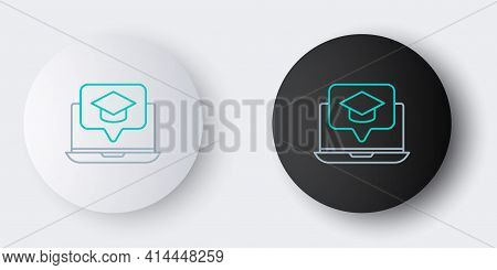 Line Graduation Cap On Screen Laptop Icon Isolated On Grey Background. Online Learning Or E-learning