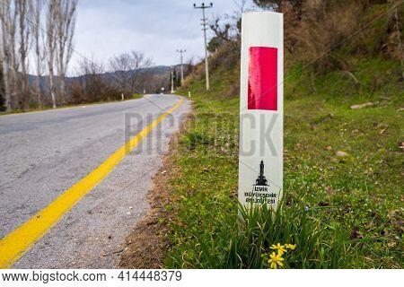 Izmir, Turkey - 03.10.2021: Izmir Metropolitan Municipality (translation Of Road Sign) Near Town Roa