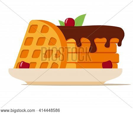 Wafer With Chocolate Topping.waffles On A Plate With Cherry.