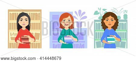 A Set Of Characters - A Young Smiling Pretty Girl With Books In Her Hands On The Background Of A Boo