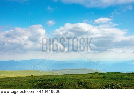 Nature Landscape Of Carpathian Mountains. Beautiful Rolling Scenery With Grassy Meadows In Summer. C