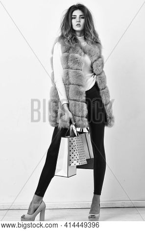 Girl Makeup Furry Violet Vest Shopping White Background. Woman Shopping Luxury Boutique. Lady Hold S