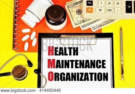 Health Maintenance Organization. Text Label In The Insurance Planning Form. Hmo Provision Of Medical