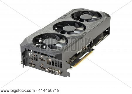 Game Graphics Card Isolated On White Background. Computer Part. Field With Clipping Path.