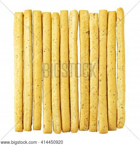 Italian Grissini Breadsticks. Tasty Grissini Snack Isolated On White Background. File Contains Clipp
