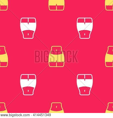 Yellow Women Waist Icon Isolated Seamless Pattern On Red Background. Vector