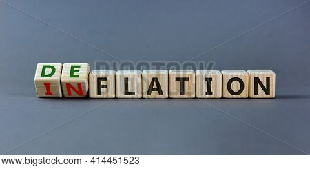Inflation Or Deflation Symbol. Turned Cubes And Changed The Word Inflation To Deflation. Beautiful G