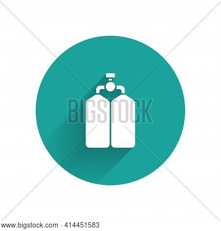 White Aqualung Icon Isolated With Long Shadow. Oxygen Tank For Diver. Diving Equipment. Extreme Spor