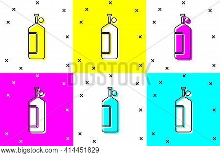 Set Aqualung Icon Isolated On Color Background. Oxygen Tank For Diver. Diving Equipment. Extreme Spo