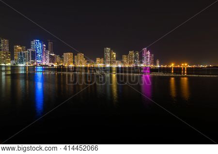 Sharjah, United Arab Emirates - 09 December, 2018: Night View Of Sharjah, The Third-most Populous Ci