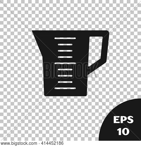 Black Measuring Cup To Measure Dry And Liquid Food Icon Isolated On Transparent Background. Plastic