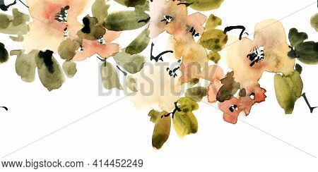 Watercolor And Ink Illustration Of Blossom Tree Branch With Violet Flowers And Buds. Oriental Tradit